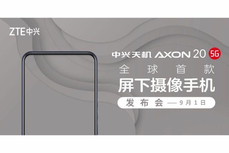 Szeptember 1-én érkezik a világ első kijelző alatti szelfikamerás telefonja a ZTE AXON 20